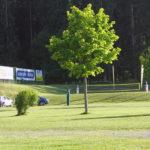 Sicht auf den Beachvolleyballplatz
